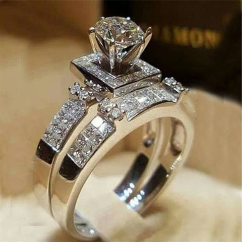Elegant Wedding Engagement Rings Set 2 PCS - Jewelry and Accessories Trends