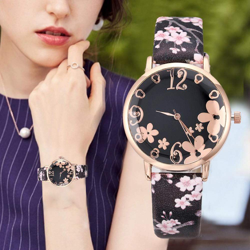 Embossed Colorful flowers small fresh printed Watches - Jewelry and Accessories Trends