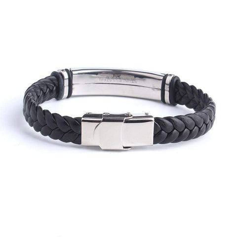 Engrave Leather Love Bracelet 316L Stainless Steel - Jewelry and Accessories Trends