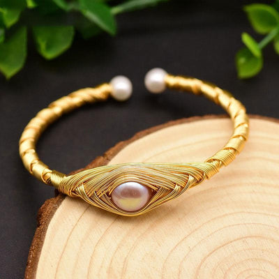 Natural Fresh Water Purple Pearl  Bangle