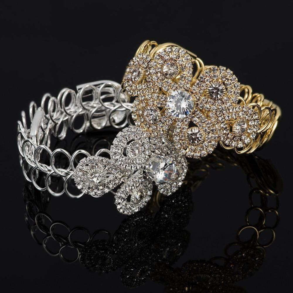 Silver Gold Color Rhinestone Chain Bracelets - Jewelry and Accessories Trends