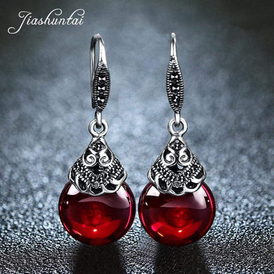 Silver Round Garnet Drop Earrings