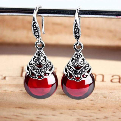 Silver Round Garnet Drop Earrings - Jewelry and Accessories Trends
