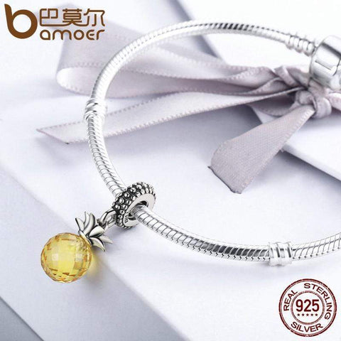 Sterling Silver Yellow Crystal  Pendant Beads - Jewelry and Accessories Trends