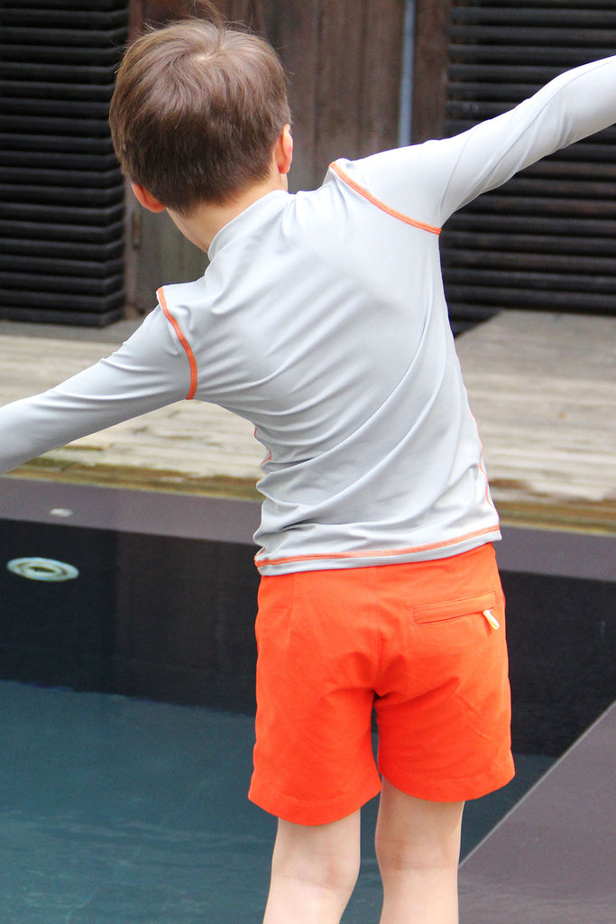 eco swimwear - sustainable swimsuit - Boys Rash Guard - Guard Grey-Loop Swim-Loop Swim