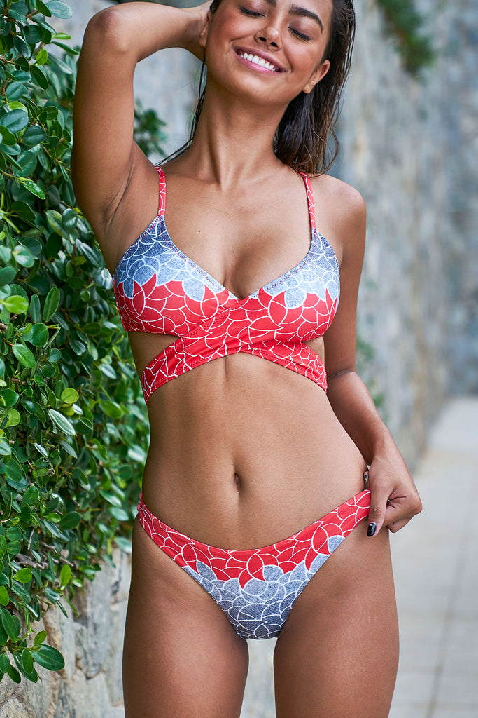 eco swimwear - sustainable swimsuit - Coral Deco Loop Bikini Top-Loop Swim-Loop Swim