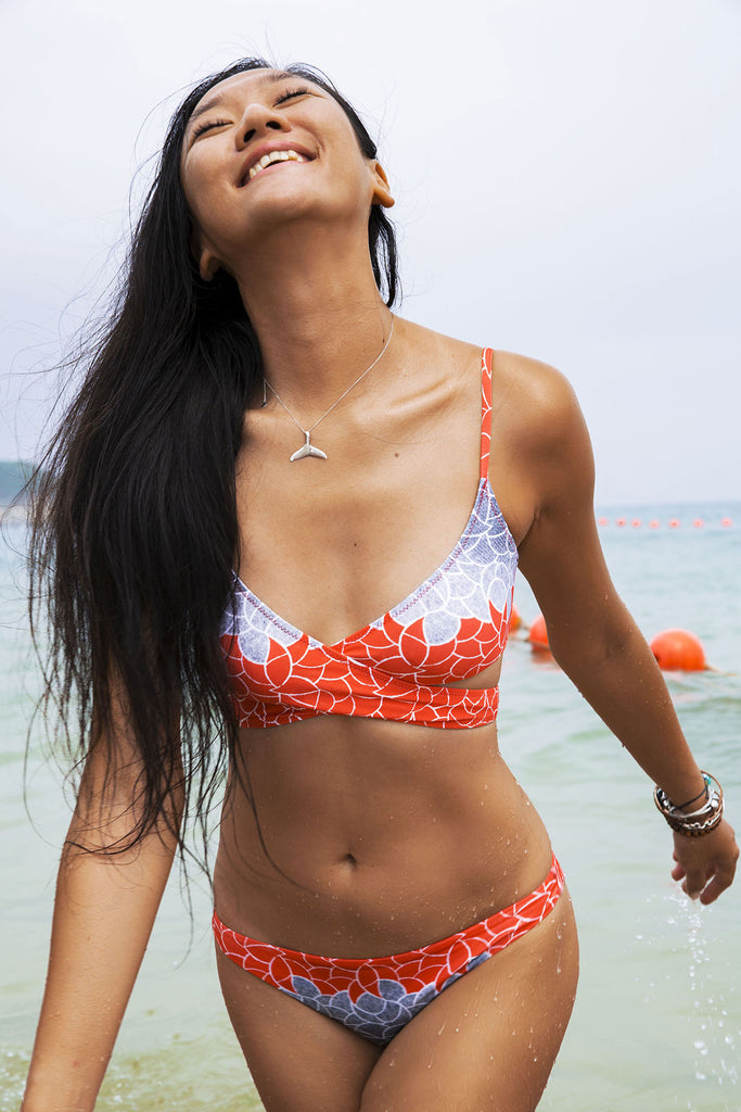 Coral Deco Loop Bikini Top-bikini top red blue pattern sustainable Loop Swim