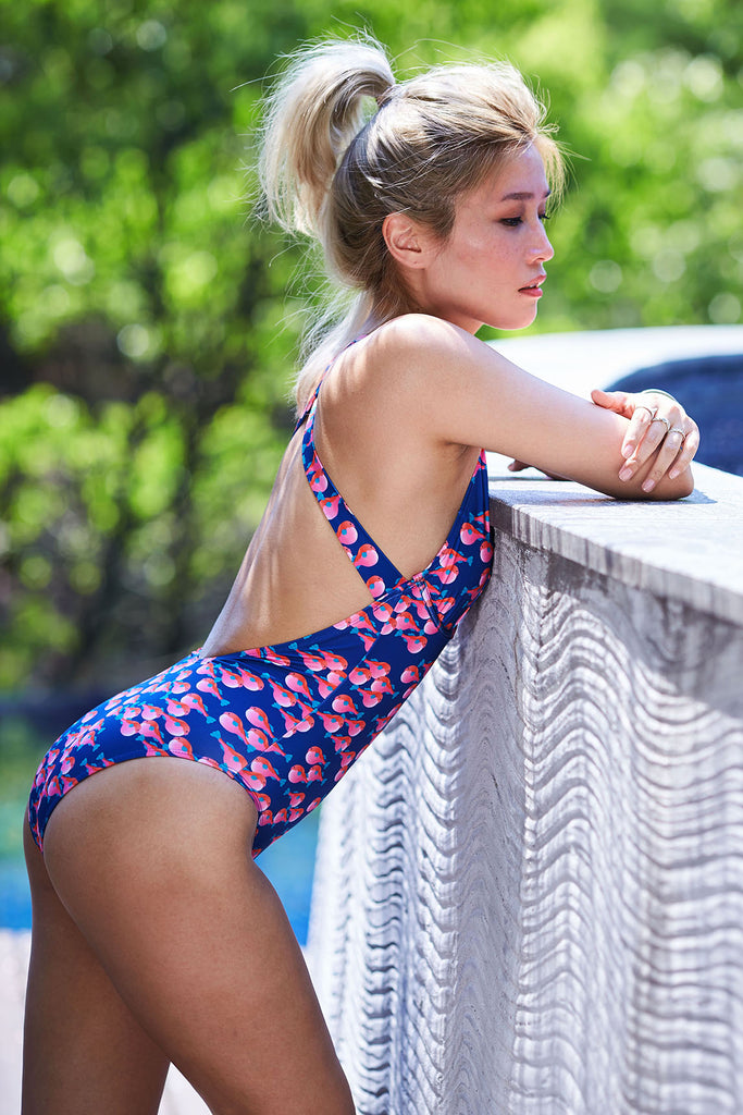 jazmine blue pink fish print sustainable one piece Loop Swim