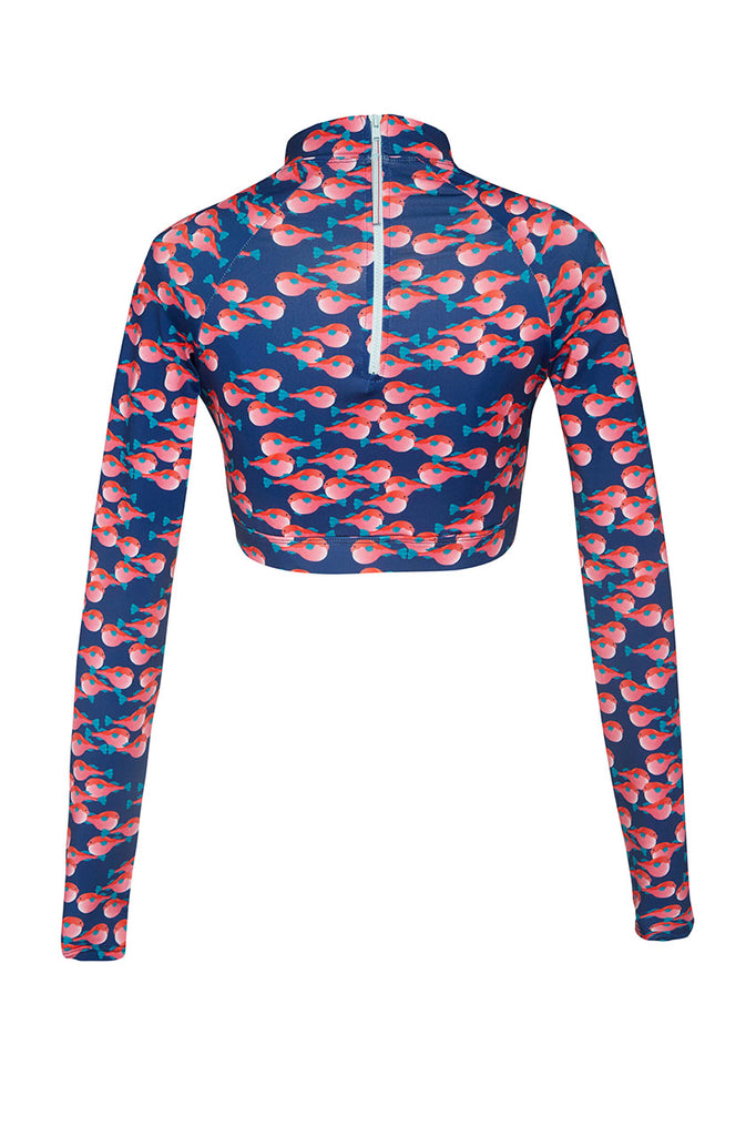 robyn crop rashie blue pink fish print sustainable rashguard Loop Swim