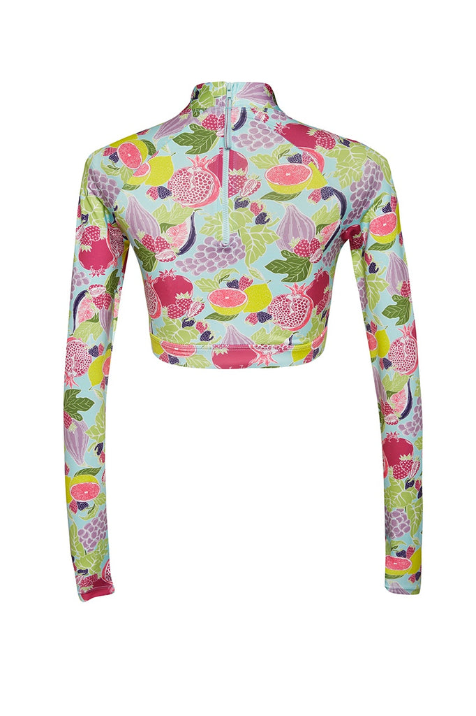 robyn crop rashie tropical fruit print sustainable rashguard Loop Swim