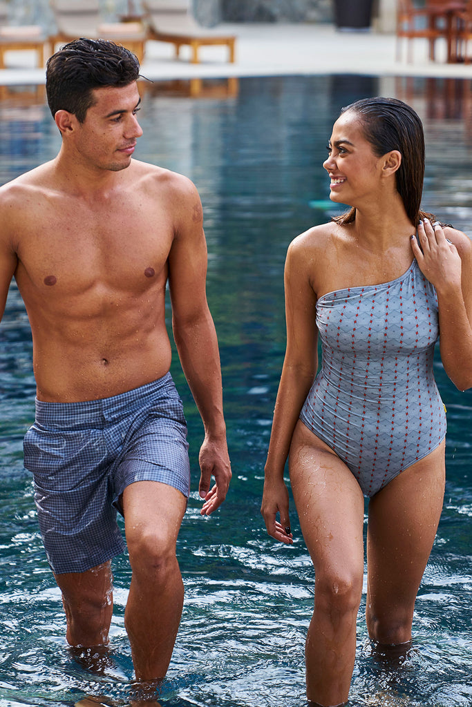 The Gavin Short - Graphite Plaid-swim short gray grey sustainable swimsuit Loop Swim