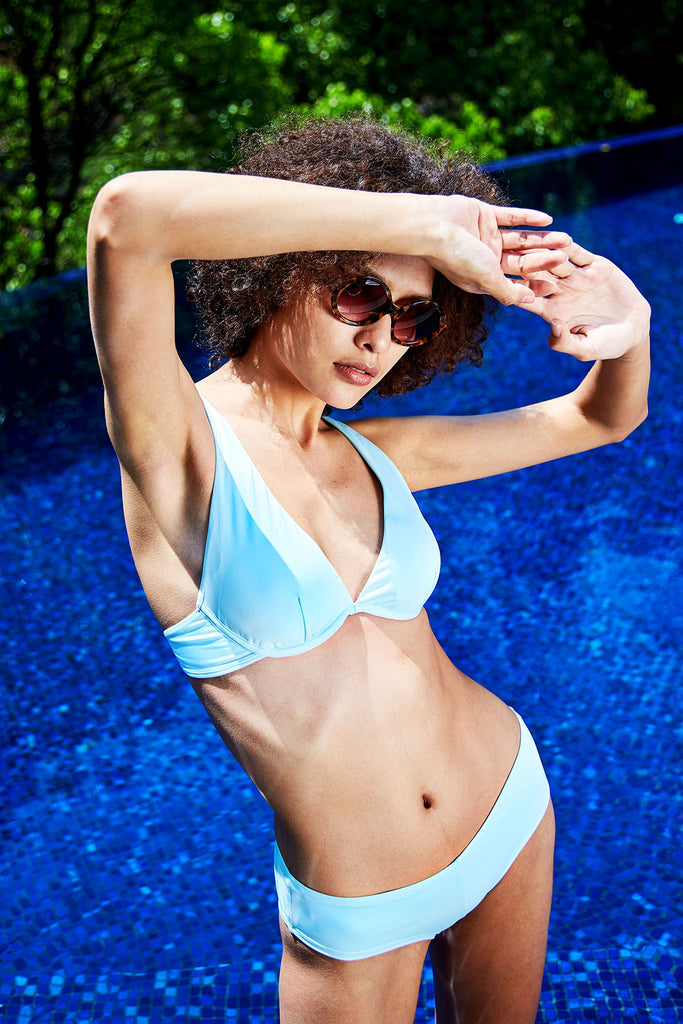 eco swimwear - sustainable swimsuit - Loop Blue Perfect Plunge Top-Loop Swim-Loop Swim