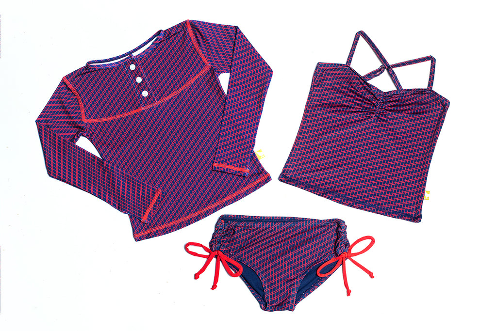 eco swimwear - sustainable swimsuit - Nora's Choice: Lattice 3-Pc Set-Loop Swim-Loop Swim