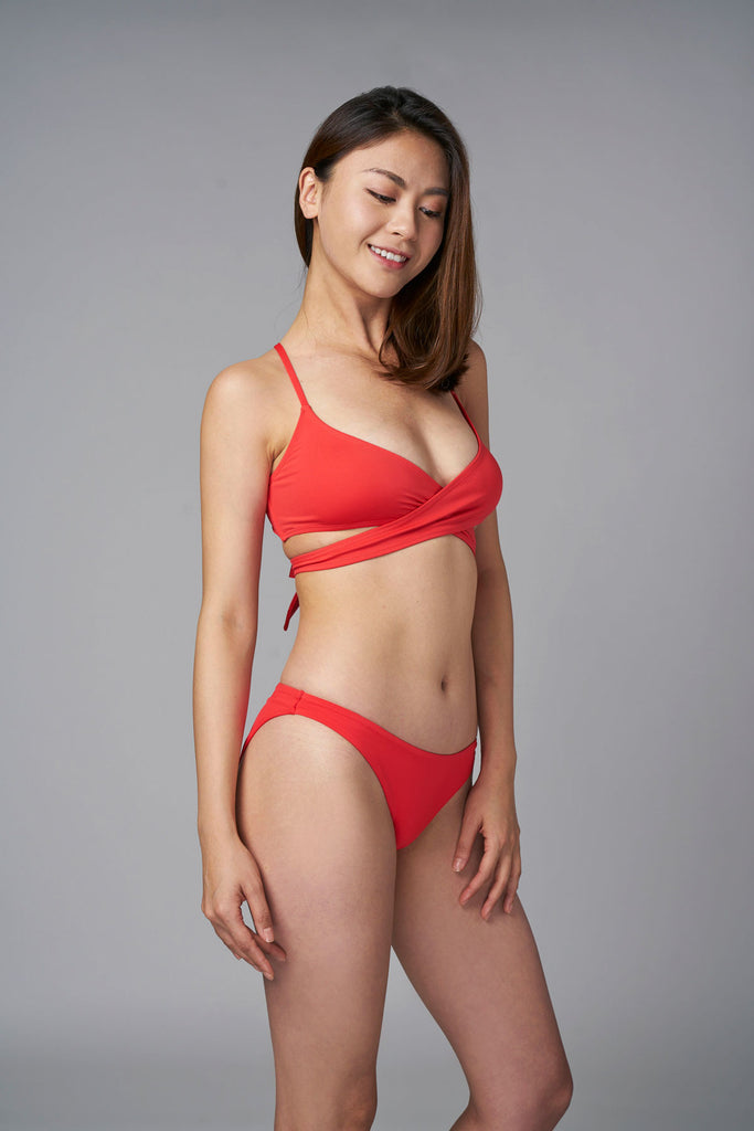 Coral Keep It Brief Bikini Bottom-bikini bottom red sustainable swimsuit Loop Swim