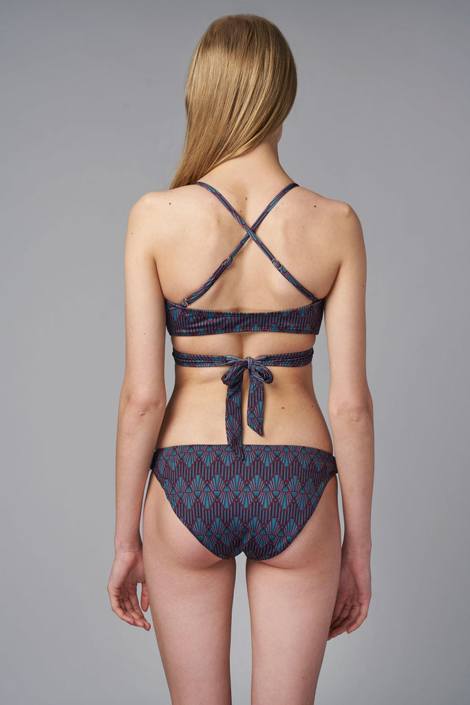Art Deco Keep It Brief Bikini Bottom-bikini bottom dark purple pattern sustainable Loop Swim