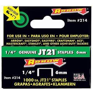Arrow Staples, Light Duty 1/4'' (1000-pk) 214