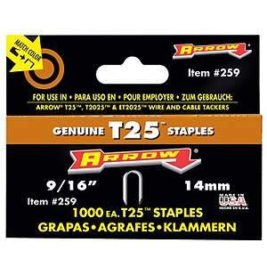 Arrow 9/16'' T25 Round Crown Staples (1000-pk)