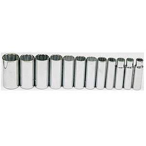 Gray Tools 12-pc Chrome Deep SAE 12-point Socket Set 35312