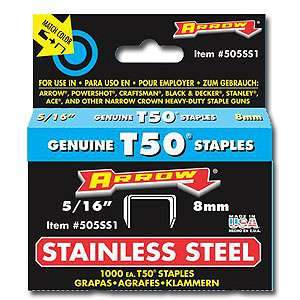 Stainless Steel T50 Staples (5/16'') 505SS1