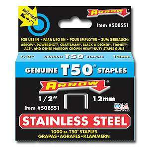 Arrow, Stainless Steel T50 Staples (1/2'')