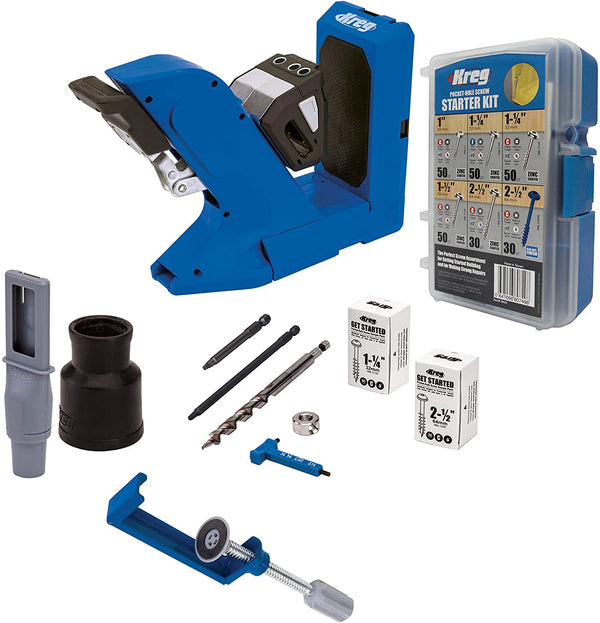 Kreg Pocket-Hole Jig 720 with KPHA760 Pocket Hole Jig Hold Down Clamp and the SK04 Starter Pocket Hole Screw Kit