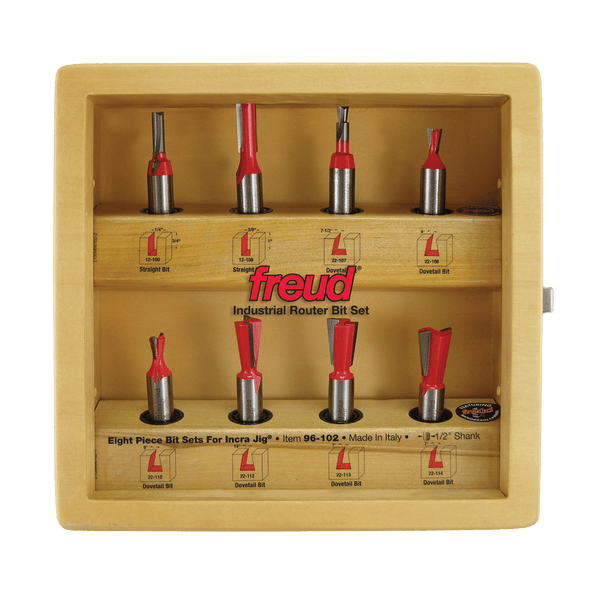 Freud, 96-102 8 Piece Bit Set for Incra Jig 1/2'' Shank 13964