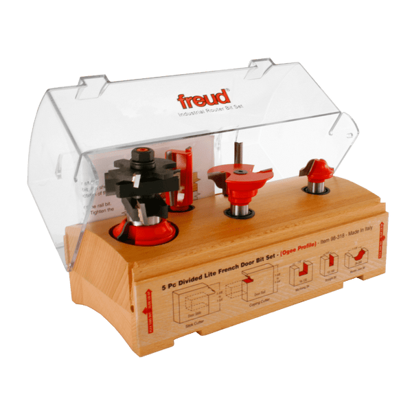 Freud, 98-318 5 Piece French Door Router Bit Set Divided Lite (Ogee Profile) 1/2'' Shank