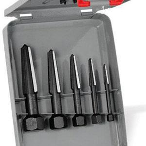 Knipex, 9R 471 901 3 Screw Extractor Double Edge Set in Metal Case, Size 1-5, Black 16061