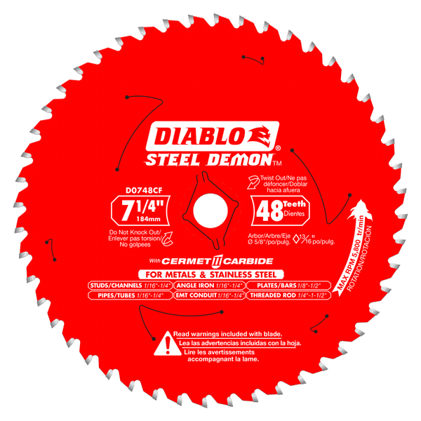 10 Pack D0748CFA Steel Demon 7 1/4'' Cermet Metal and Stainless Steel Cutting Saw Blade