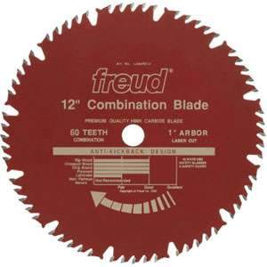 Freud, LU84R012 12'' Combination 1'' Arbor 60 Tooth 13161