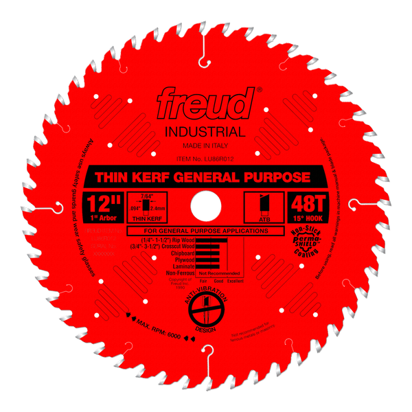 "Freud, LU86R012 12"" Thin Kerf General Purpose 48T 24038"