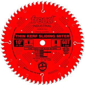Freud LU91R010 10'' Thin Kerf 60 Tooth Miter Saw Blade 5/8in Arbor