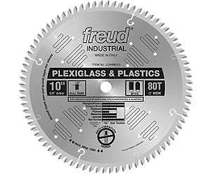 Freud, LU94M010 10'' Plexiglass / Plastic 80 Tooth Cutting Saw Blade  5/8'' Arbor 13915