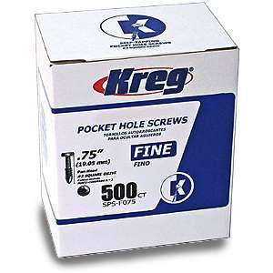 Kreg, SPS-F075-500 Pocket Hole Screws, 3/4-inch Fine 500pk 12511
