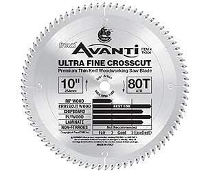 Freud TK806 10'' Thin Kerf 80 Tooth Ultra Fine Crosscut Blade