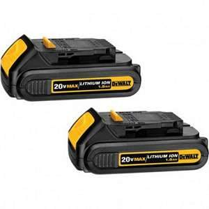 DeWalt DCB201-2  20V MAX Lithium Ion Compact Battery Pack 1.5 Ah  2 Pack