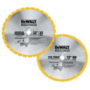 Dewalt DW3128P5 12-Inch 80 Tooth and 32T ATB Thin Kerf Crosscutting Miter Saw Blade 013509940