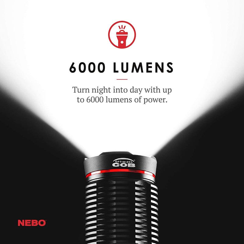 Nebo Redline Rechargeable LED Flashlight with 4 Light Modes  Water and Impact Resistant  6,000-Lumens Model 6k lumen