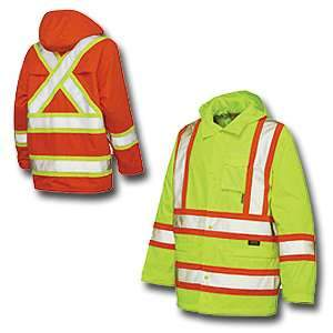 Work King High Visibility Work Rain Jacket s372 by Tough Duck