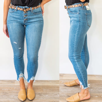 Only Intentions Distressed Jeans - Medium Wash
