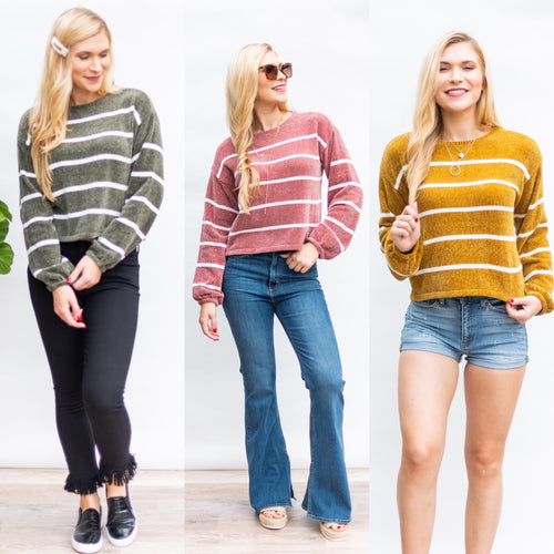 No Brainer Striped Chenille Sweater