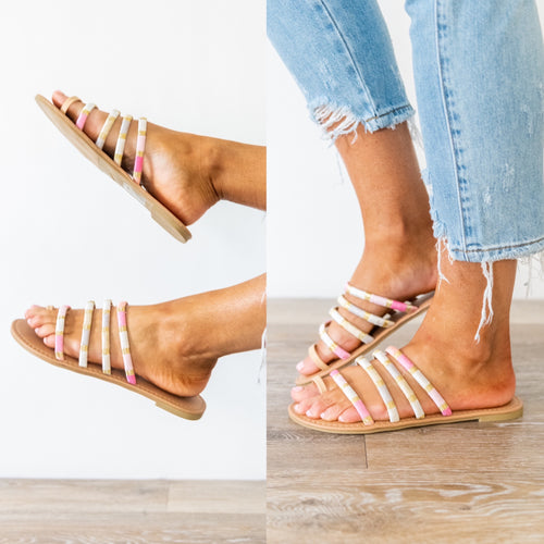 Under the Stars in Moracco Strappy Sandals - Pink Multi *Final Sale*