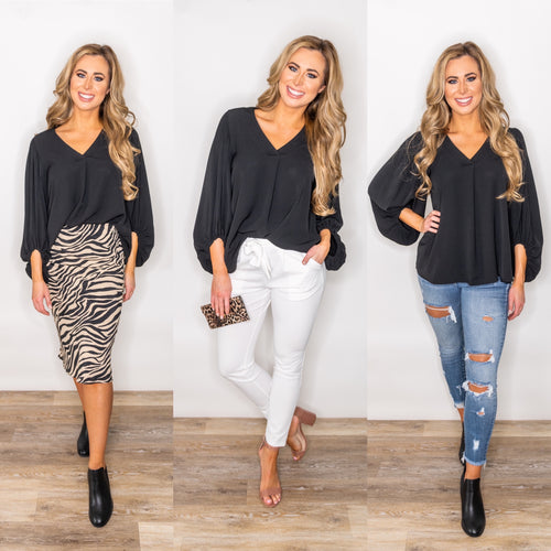 Black is Back V-Neck Blouse