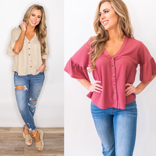 Button Up Buttercup Knit Top