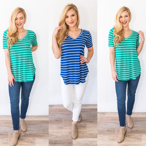 Stylin' in Stripes V Neck Top