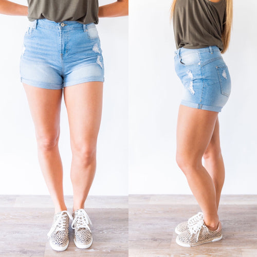 Keep it Cool Denim Shorts - Light Blue