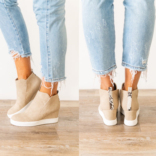 Like I Do Wedge Sneakers - Light Taupe