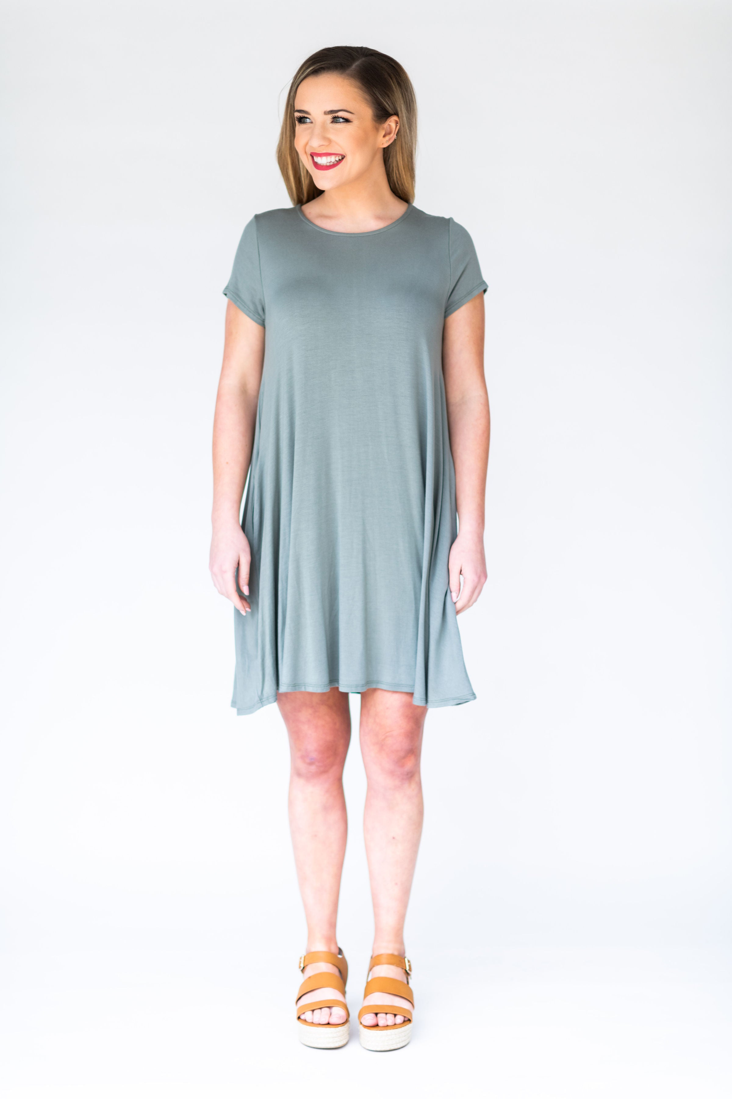 Simplicity is Key T-Shirt Dress with Pockets:  Green Moss