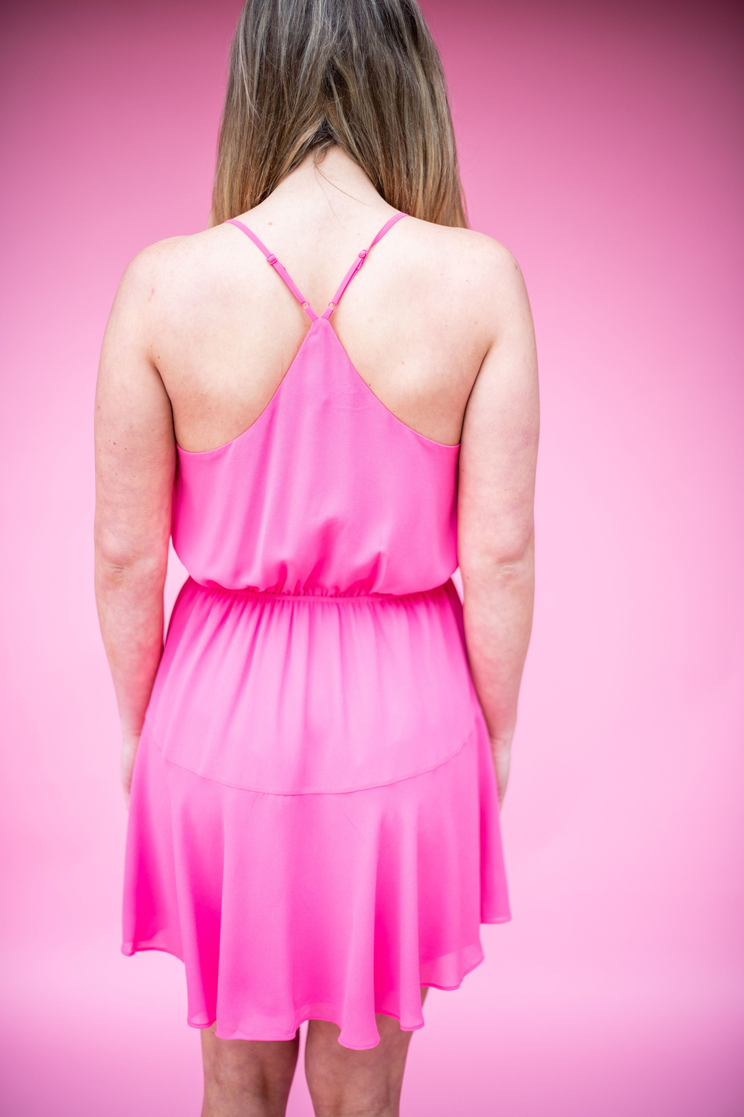 Tickled Pink Racerback Dress with Elastic Waist:  Pink