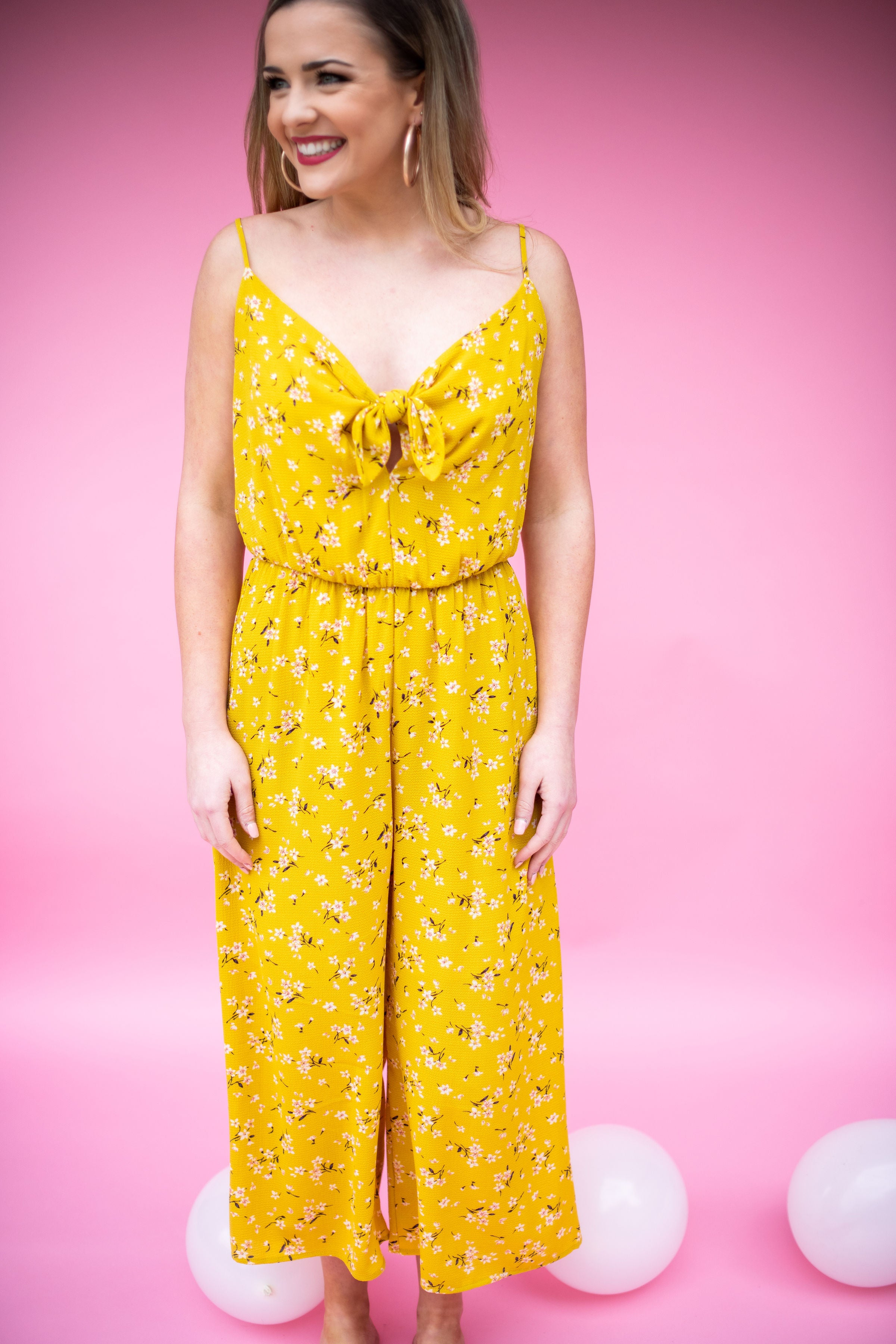 Brighter Than the Sun Printed Jumper with Front Tie:  Yellow